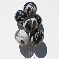 Шары латексные с гелием - Чёрный мрамор, 30 см