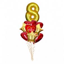 Букет из воздушных  шаров с гелием 8 марта с сердцами и звездами