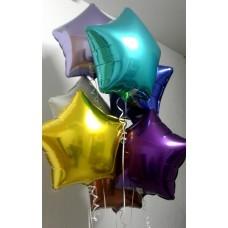 Букет из фольгированных разноцветных звёзд с гелием / 7шт