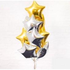 Букет из фольгированных шаров с гелием Звёздный  10шт