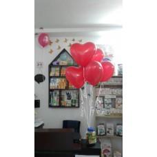 Букет из латексных гелиевых шаров в форме сердец / 5шт