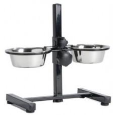Beeztees Стойка с двумя мисками для собак, черная, разные объемы