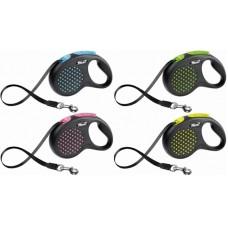 Flexi Рулетка-поводок DESIGN, ремень, (S) до 15 кг., 5 м., разные цвета