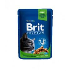Brit Пауч (пресервы) для кошек Chicken Slice for Sterilized Курица для стерилизованных кошек, 24*100 г