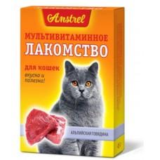 Amstrel Лакомство мультивитаминное для кошек Альпийская говядина 90 табл