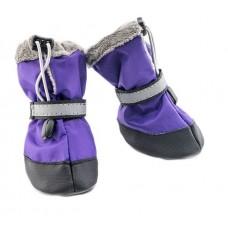 Утепленная обувь для собак фиолетового цвета, мех+п/э, 3х-сл.подошва (2 ботинка) Дарелл