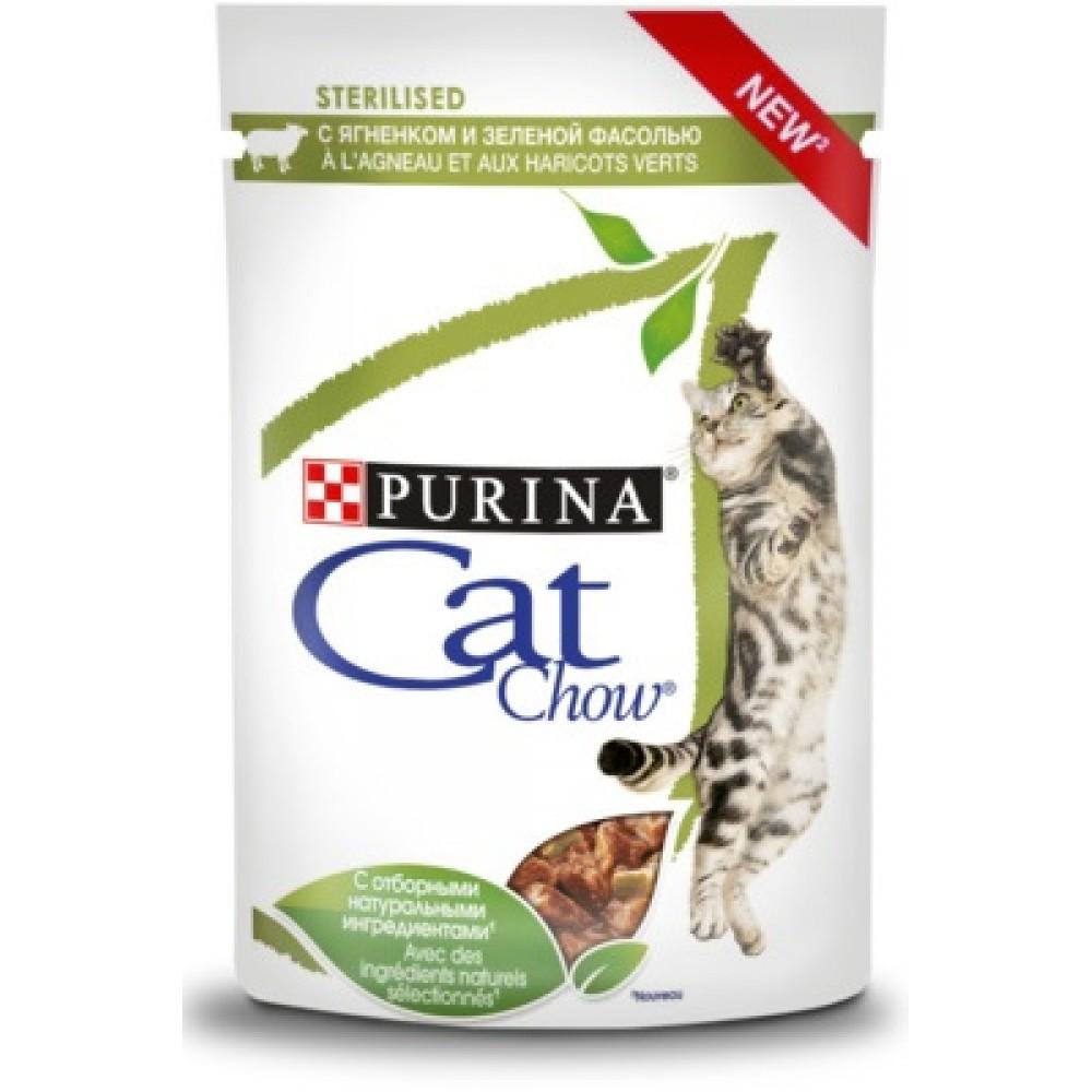 Cat Chow - влажный корм для стерилизованных кошек, кусочки в соусе с ягненком и зеленой фасолью 85 гр.