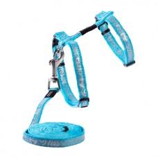 Rogz Шлейка + поводок Sparklecat Tuig+Lijn голубой, длина поводка 1.8 м., грудь 19,8-30 см. (арт. RCLJ252F)