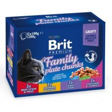 Brit Cat Family Plate Chunks - пресервы для кошек ассорти Семейная тарелка