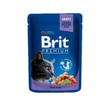 Brit Пауч (пресервы) для кошек Cod Fish pouch Треска, 12*100 г