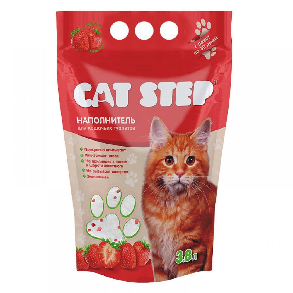 Cat Step Клубника наполнитель силикагелевый для кошачьих туалетов с ароматом клубники (арт. ТР 20363006)