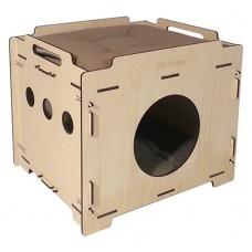 Cat House домик для кота фанерный Лофт 37*44*38 см. съемный 2-х сторонний матрац