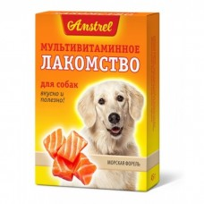 Amstrel Лакомство мультивитаминное для собак Морская форель 90 табл
