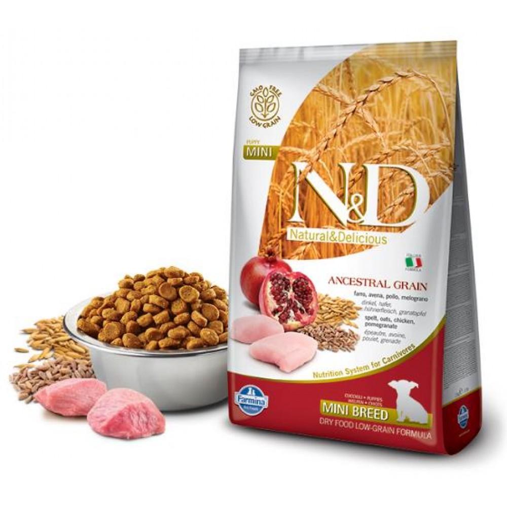 Farmina N&D - корм для щенков мелких пород (курица с гранатом, спельта, овес)