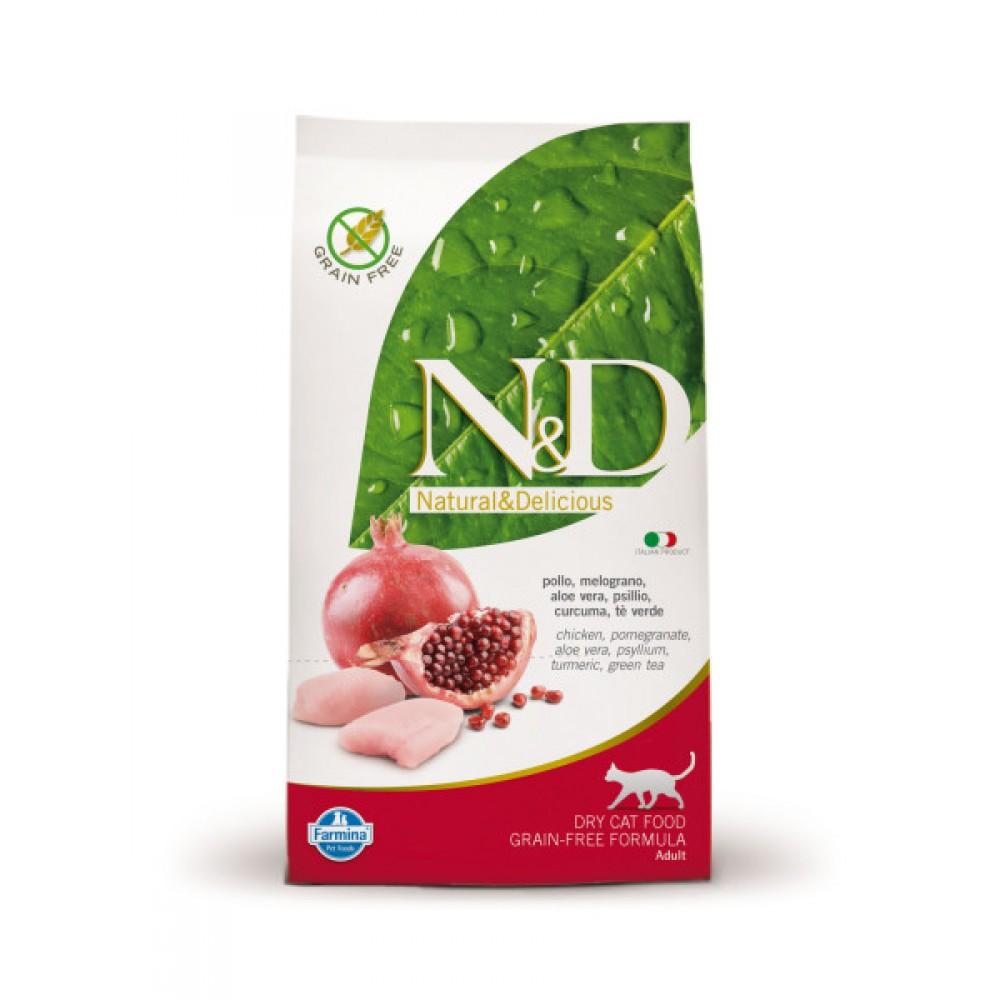 Farmina N&D - беззерновой корм для взрослых кошек (курица с гранатом)