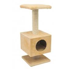Redplastic Домик-когтеточка СМАРТ квадратный, на подставке (сизаль, мех Plush) 27*27*64 см (арт. 8183)