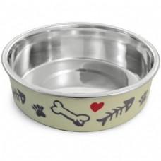 Triol Миска металлическая на резинке Косточки для кошек, 0,25л (арт. ТР 30251035)