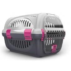 Georplast Переноска Rhino для кошек и собак, пластик, 51 x 34,5 x 33 см (Stirolux), серо-розовая (арт. TYZ 715009)