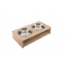 Дарэлл Кормушка для собак, двойная 2*0,7л, ламинат дуб сонома, р-р 41,5*21,5*h13,5 (арт. 87956)