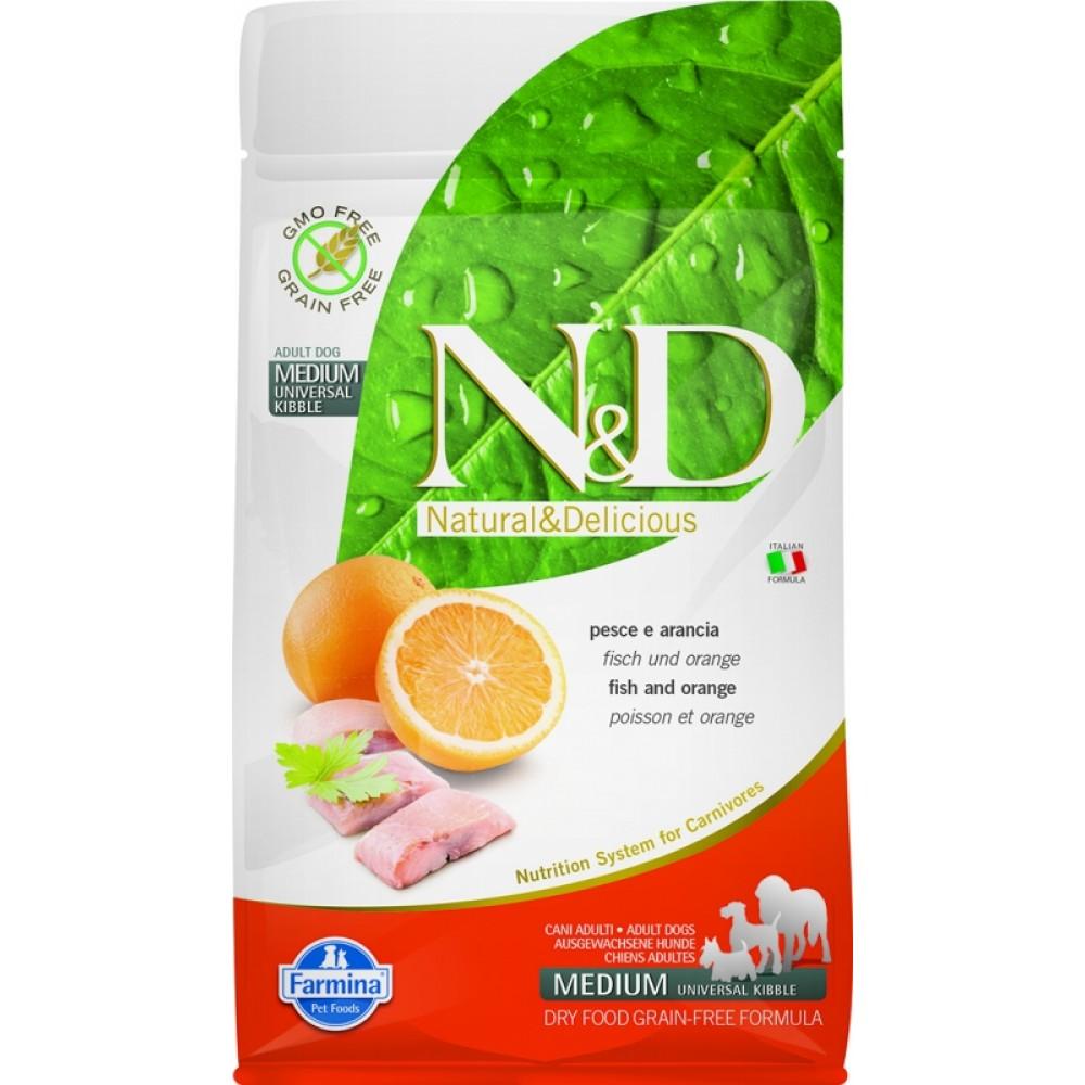Farmina N&D - беззерновой корм для взрослых собак рыба с апельсином