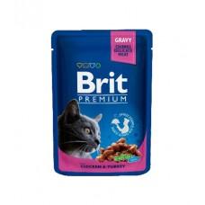 Brit Пауч (пресервы) для кошек Chicken & Turkey Курица и индейка, 100 г