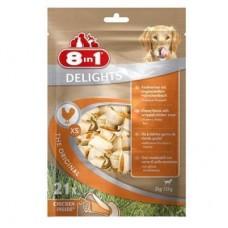 8 in 1 DELIGHTS ХS - косточки с куриным мясом для мелких собак, 7,5 см, 21 шт (арт. DAI102533-В)