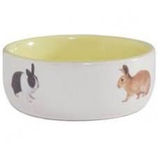 Beeztees Миска керам. с изоб. кролик, разных цветов 0,3л*11,5см
